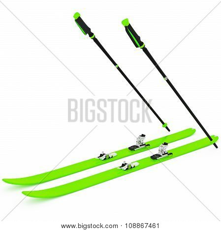 Skiing green ski poles