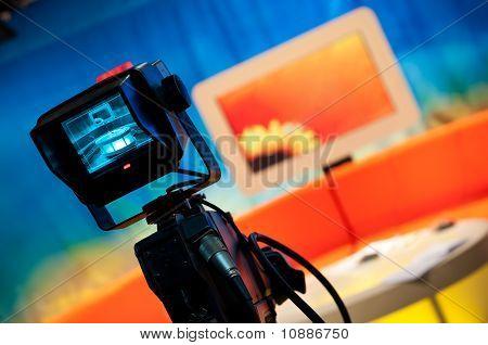 Estúdio de TV - visor da câmera de vídeo