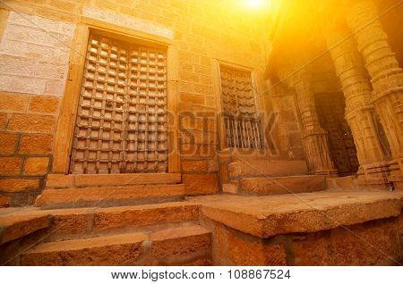 Details of carved walls and doors of Jaisalmer Fort, Rajasthan, India