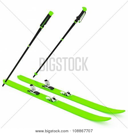 Skiing green, fixation and ski poles