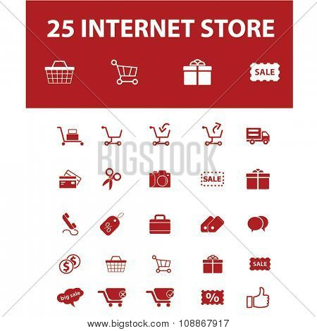 internet shopping, retail, cart, sales, store icons