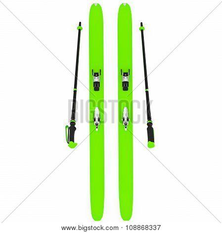 Skiing green ski poles, top view