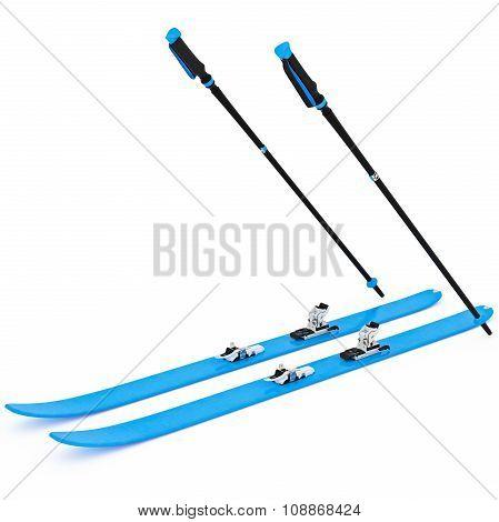 Skiing blue ski poles