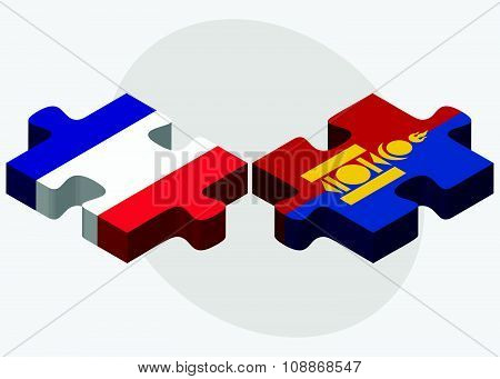 France And Mongolia Flags