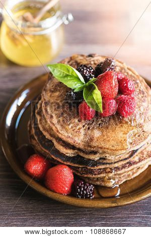 Buckwheat Pancakes With Honey