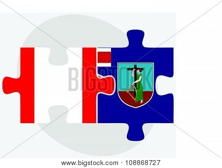 Canada And Montserrat Flags