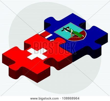Switzerland And Montserrat Flags