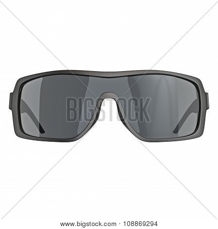 Sunglasses with black lenses, front view