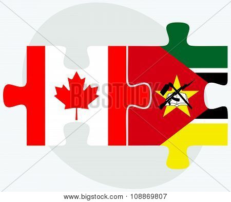Canada And Mozambique Flags