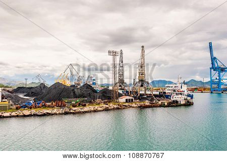 Ploce, Croatia - May 17, 2014: Bulk Cargo With Port Infrastructure In Port Ploce, Largest Sea Port I