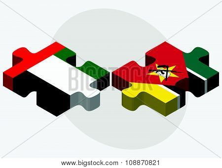 United Arab Emirates And Mozambique Flags
