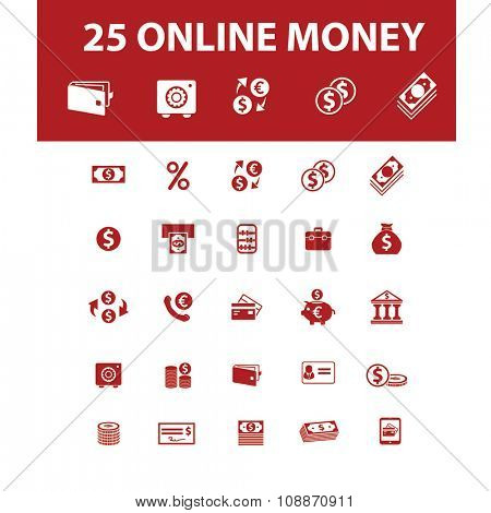 money, cash icons, signs vector concept set for infographics, mobile, website, application