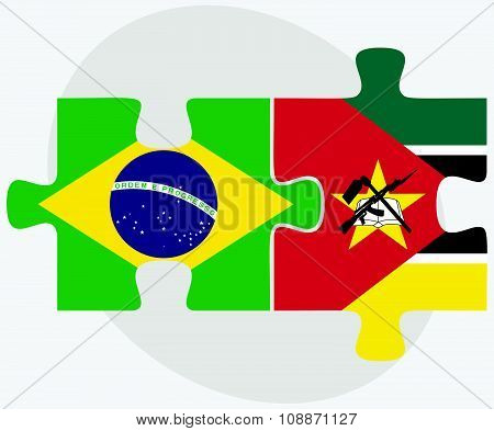 Brazil And Mozambique Flags