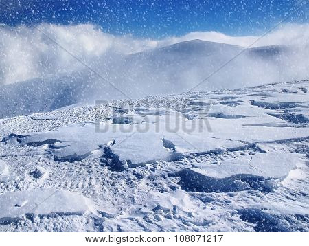 Beautiful winter landscape with falling snow.