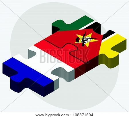 France And Mozambique Flags