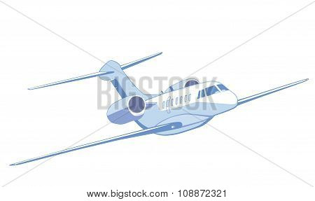 Flying Private Jet. Isolated On White. Front View.