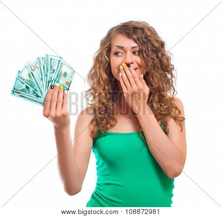 Curly Young Woman Holding Cash  Isolated