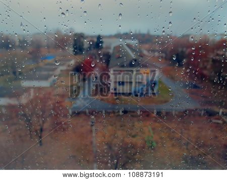 Autumn rainy town outside