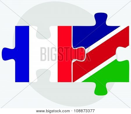 France And Namibia Flags