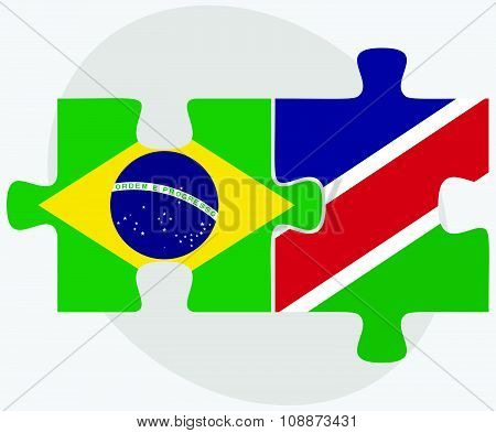 Brazil And Namibia Flags