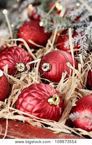 Macro Of Glass Christmas Ornaments