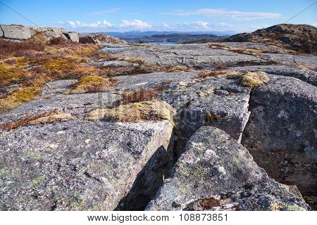 Norwegian Mountains, Landscape With Gray Rocks