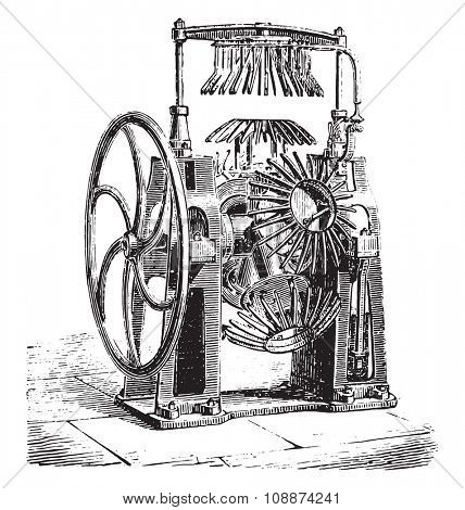 Machine to cut down the edges at once, vintage engraved illustration. Industrial encyclopedia E.-O. Lami - 1875.