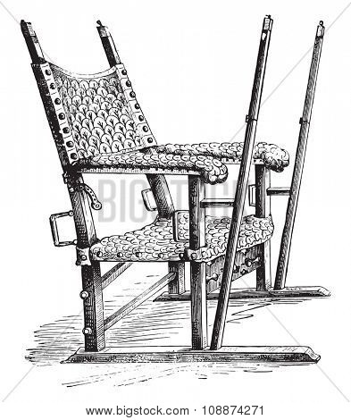 Sedan chair of Charles V, vintage engraved illustration. Industrial encyclopedia E.-O. Lami - 1875.