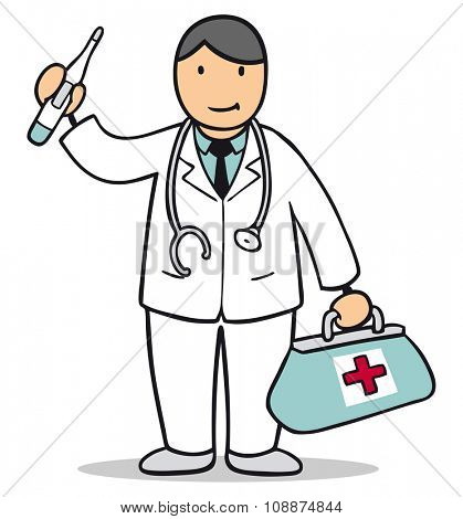 Male cartoon doctor with white coat and bag