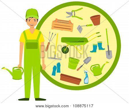 Man gardener and garden tools. Vector illustration
