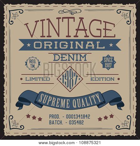 T-shirt Printing Design, Typography Graphics, Vintage Original Denim Vector Illustration With Crosse