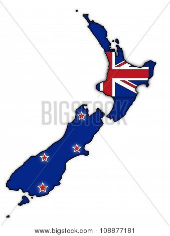 New Zealand Flag In Map