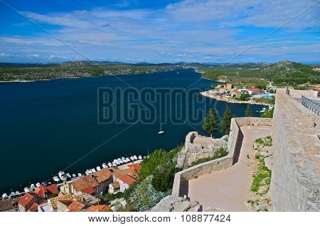 View of Šibenik from St Michel's fortress