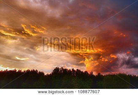 beautifully dramatic clouds at sunset