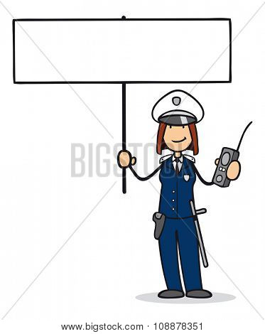 Cartoon woman as policewoman holding up a blank sign