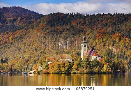 Sunny fall day on Lake Bled, Slovenia