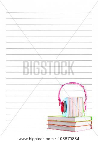 Books and headphones on lined paper background