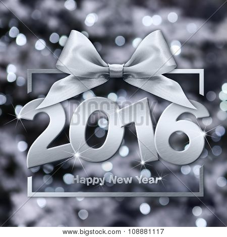 Happy New Year 2016 Silver Text With Box And Ribbon In Lights Background