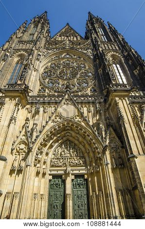 Famous St. Vitus Cathedral in  Prague, Czech Republic