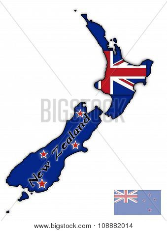 New Zealand Text And Flag In Map