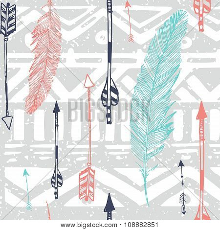 Seamless Aztec Tribal pattern with feather and arrows in vector
