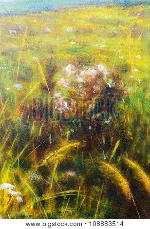 painting on canvas of a vibrant spring meadow full of wild colorful flowers in the bright sunny day
