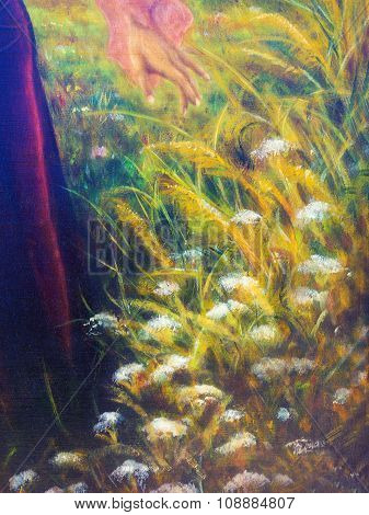 painting on canvas of a vibrant spring meadow full of wild colorful flowers in the bright sunny day.