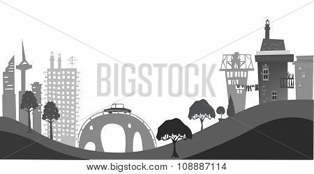 City on the hills, illustration with cranes and construction site