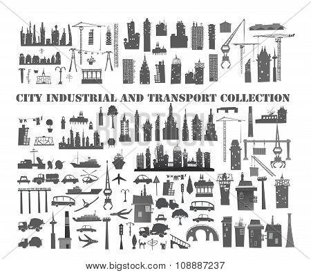 Big City set of design element. Buildings, transport, industrial units etc