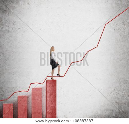 A Woman In Formal Clothes Is Going Up Over Red Bar Charts As Stairs And She Is Going To Continue Her