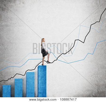 A Woman In Formal Clothes Is Going Up Over Blue Bar Charts As Stairs And She Is Going To Continue He