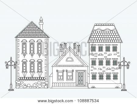 City house, very detailed editable doodle