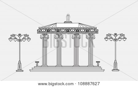 Architectural detail with classic columns. Detailed editable doodle