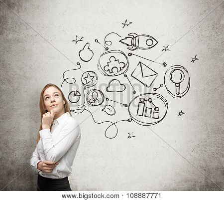 A Young Lady Is Thinking About An Optimisation Scheme In Some Business Process. Some Connected Icons